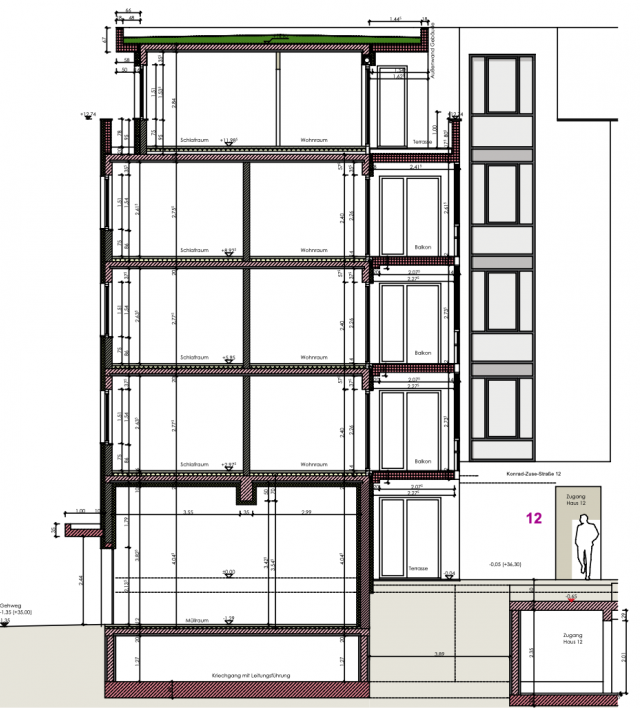 Wohnquartier Adlershof - Schnitt Haus 12