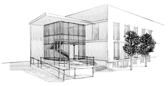 Kundenzentrale Stadtwerke Zittau - Skizze Eingangsbereich mit Rampe
