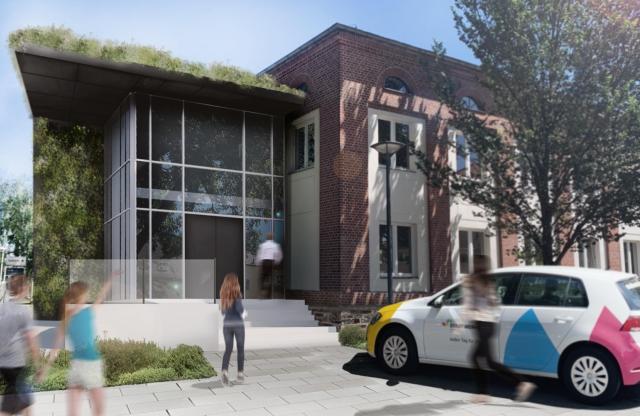 Kundenzentrale Stadtwerke Zittau - photorealistische Perspektive Neubau Eingangsbereich