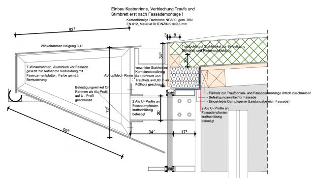 Stadtbad Zittau - Detail Dachrand Erweiterungsbau