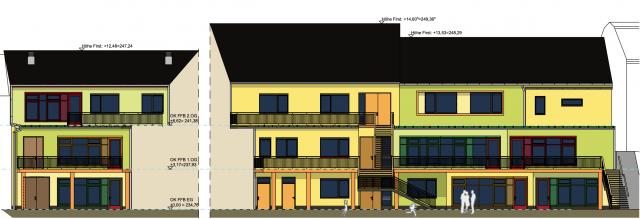 Innerstädtische Kita Zittau - Fassadengestaltung Hofansicht in der Ausführungsplanung