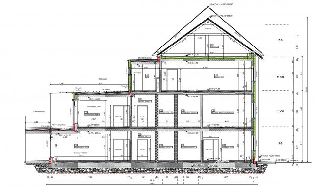 Innerstädtische Kita Zittau - Gebäudeschnitt in der Ausführungsplanung