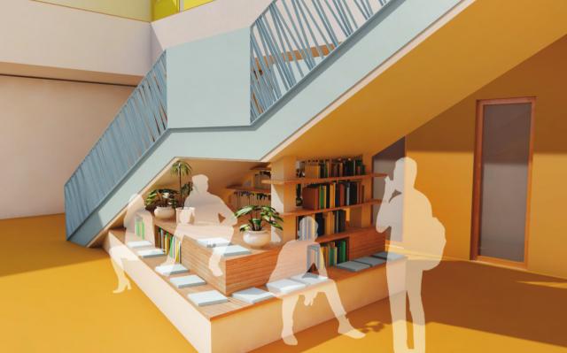 Freie Oberschule Weissenberg - Perspektive Präsentationsfläche unter Atriumtreppe