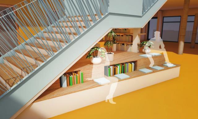 Perspektive Präsentationsfläche unter Atriumtreppe