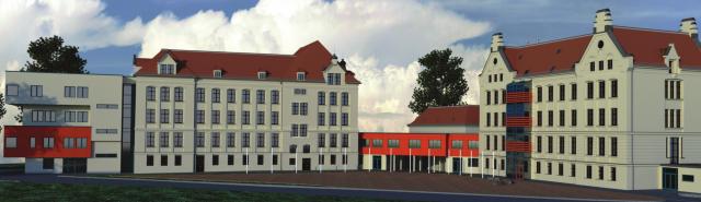 Visualisierung der Hofansicht mit historischem Gebäudekomplex und Anbau
