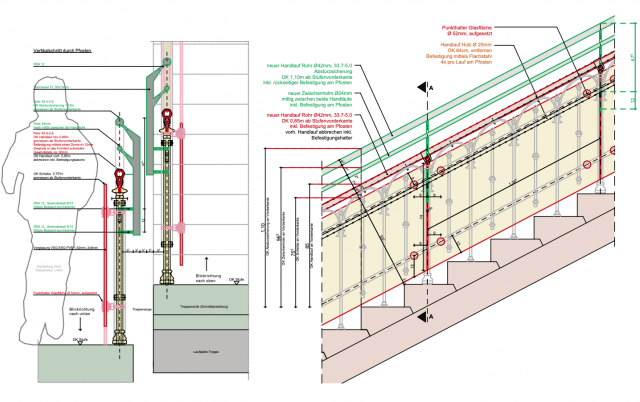 Schliebenschule Zittau - Erhalt der historischen Treppengeländer und Aufarbeitung entsprechend der geforderten Richtlinien