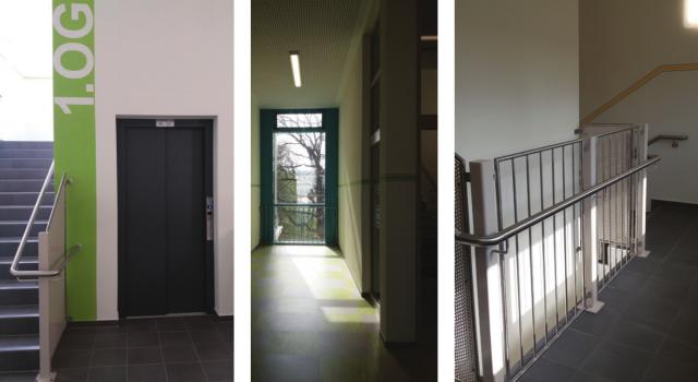 Schliebenschule Zittau - Treppenhaus mit Aufzugsanlage im Anbau