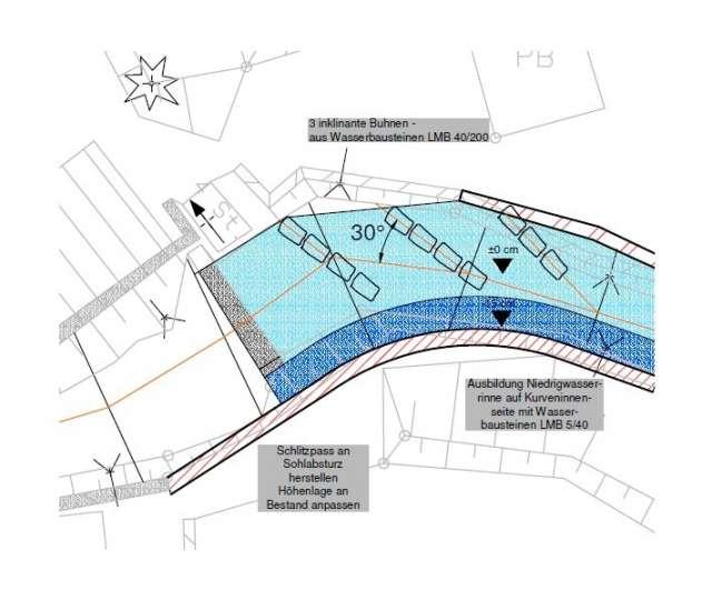 Schadenbeseitigung des Hochwassers von 2013 in Ebersbach- Neugersdorf - Ausbildung Niedrigwasserrinne auf Kurveninnenseite mit Wasserbausteinen LMB 5/40