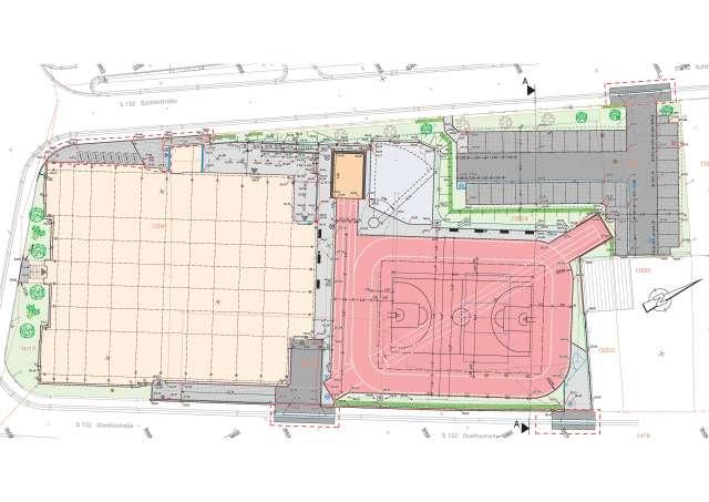 Freianlagen Hauptturnhalle Zittau - Lageplan Gestaltung