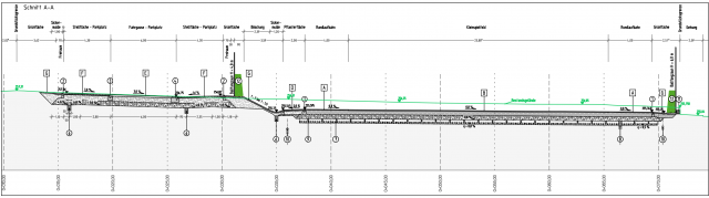 Freianlagen Hauptturnhalle Zittau - Längsschnitt