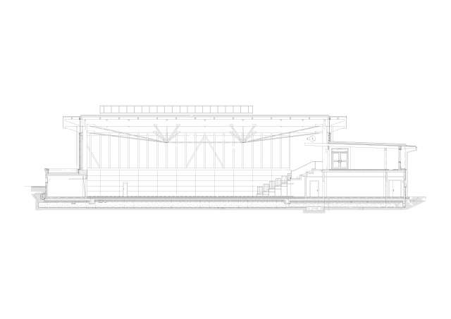 Dreifeldhalle mit Tribüne, Zittau - Schnitt