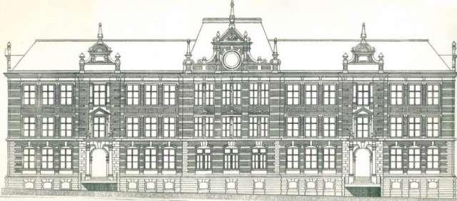 Parkschule Zittau - historische Straßenansicht des Schulgebäudes